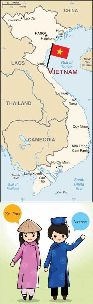 Carte du Vietnam et message de bienvenue des Vietnamiens, pays des créations d'artisanat proposées par Frangipanier votre boutique mobile.