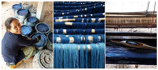 Au Laos, la teinture naturelle à l'indigo est un savoir-faire ancestral utilisé par les artisans pour les écharpes en coton et soie naturelle de Frangipanier.