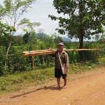 Laos image un villageois dans la campagne. Images et textes proposés par Frangipanier, votre boutique mobile de créations d'artisanat d'Asie du Sud-Est.