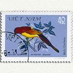 Timbre du Vietnam représentant un perroquet, retrouvez des instants du Vietnam décrit par Frangipanier, créations d'artisanat d'Asie du Sud-Est.