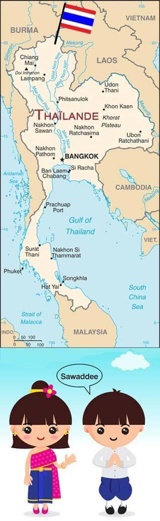 Carte de la Thaïlande et message de bienvenue des Thaïlandais, pays des créations d'artisanat proposées par Frangipanier votre boutique mobile.