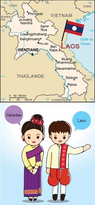 Carte du Laos et message de bienvenue des Laotiens, pays des créations d'artisanat proposées par Frangipanier votre boutique mobile.