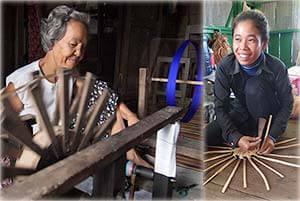 Artisanes des villages du Laos et du Cambodge en train de confectionner des créations d'artisanat d'Asie en jacinthe d'eau et des écharpes en soie.