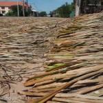 Artisanat équitable en jacinthe d'eau du Cambodge, la jacinthe d'eau sèche sur le bord de la route autour du Lac Tonle Sap avant la préparation de paniers.