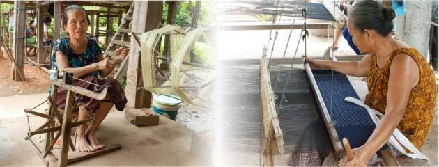 Des artisanes du Laos et du Cambodge, le filage de la soie naturelle et son tissage sur des métiers à tisser traditionnels et authentiques.