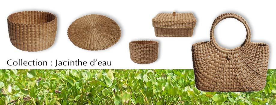 Artisanat du Cambodge en jacinthe d'eau : panier, corbeille, set de table… pour votre décoration et table