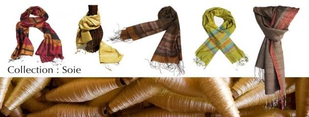 Découvrez de magnifiques écharpes en soie naturelle, fabriquées de façons artisanale et authentique par les artisans des villages du Laos et du Cambodge.