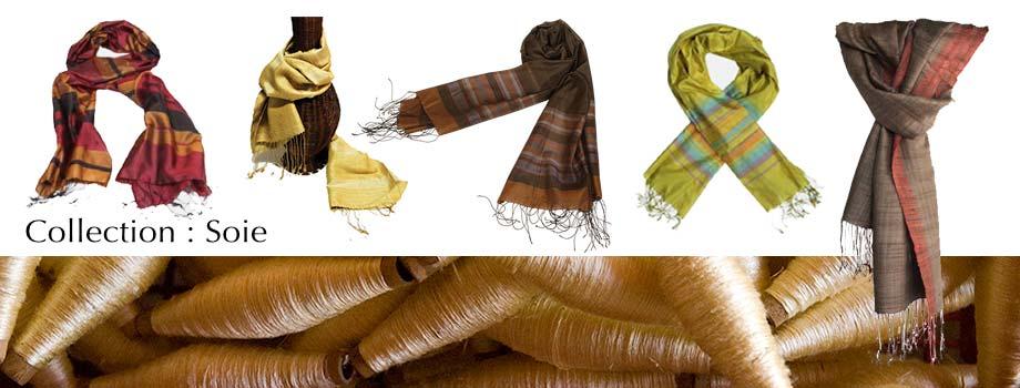 Artisanat du Laos et du Cambodge : écharpe en soie naturelle… pour votre élégance et confort
