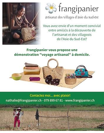 """Frangipanier vous propose des démonstrations """"voyage artisanal"""" à domicile pour vous présenter le bel artisanat des villages d'Asie du Sud-Est."""