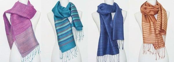 Echarpe en soie naturelle filée et tissée à la main par les artisanes des villages du Laos - artisanat authentique et équitable - newsletter