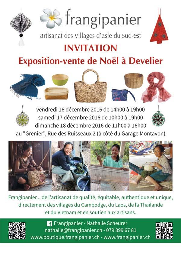 Exposition-vente de Noël à Develier, Frangipanier artisanat équitable, authentique et unique des villages du coeur de l'Asie du Sud-Est