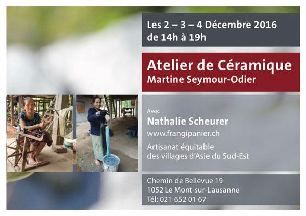 Portes ouvertes 2016 chez Martine Seymour-Odier céramiste, avec Frangipanier Nathalie Scheurer, artisanat des villages, équitable, authentique et unique