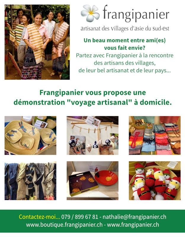 Frangipanier, démonstration à domicile d'artisanat équitable en direct des villages